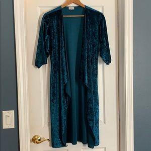 NWOT lularoe dark teal velvet kimono
